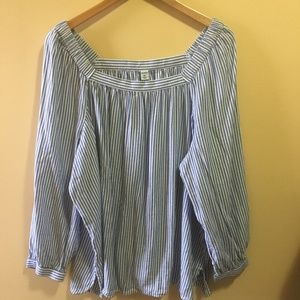 Old Navy Tops - Old Navy Striped Off the Shoulder Long Sleeve Top
